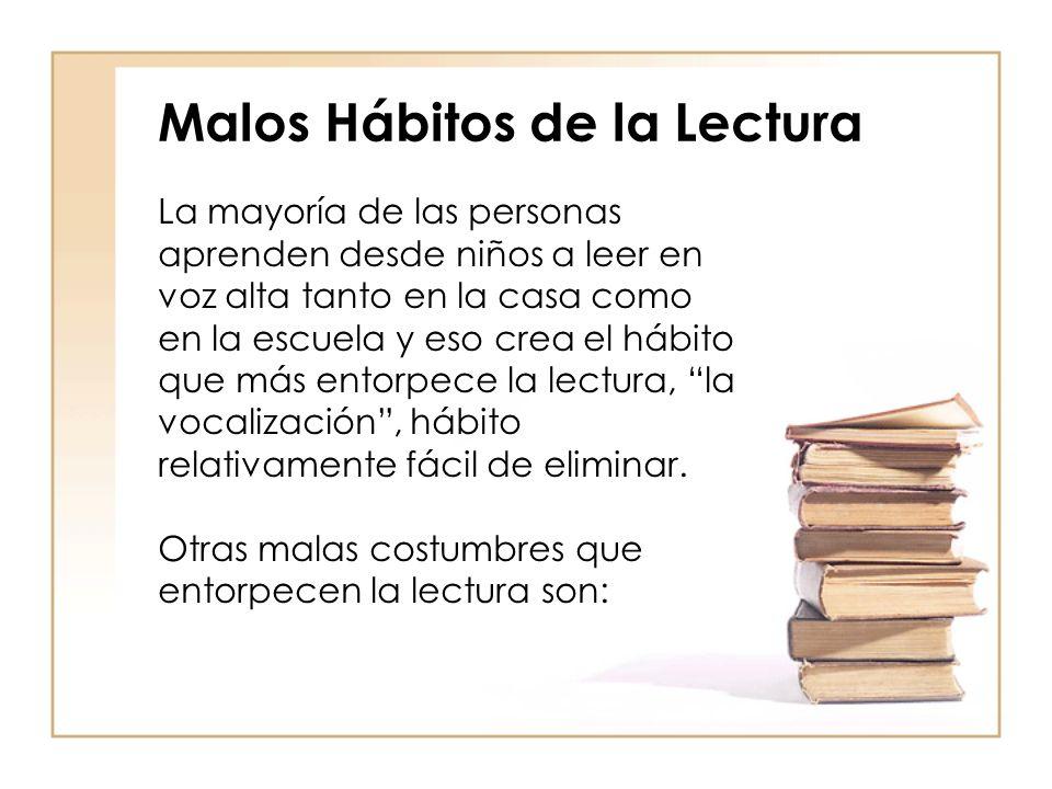 Malos Hábitos de la Lectura