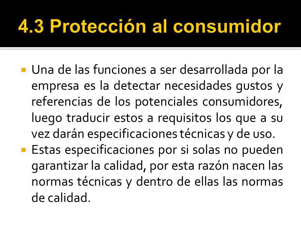 4.3 Protección al consumidor