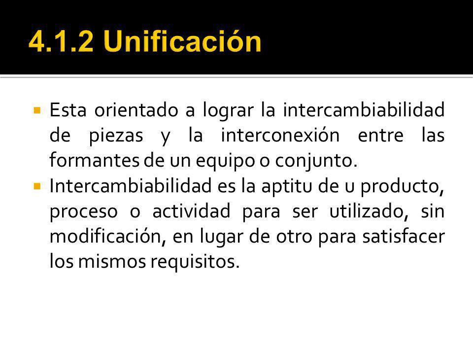 4.1.2 Unificación Esta orientado a lograr la intercambiabilidad de piezas y la interconexión entre las formantes de un equipo o conjunto.