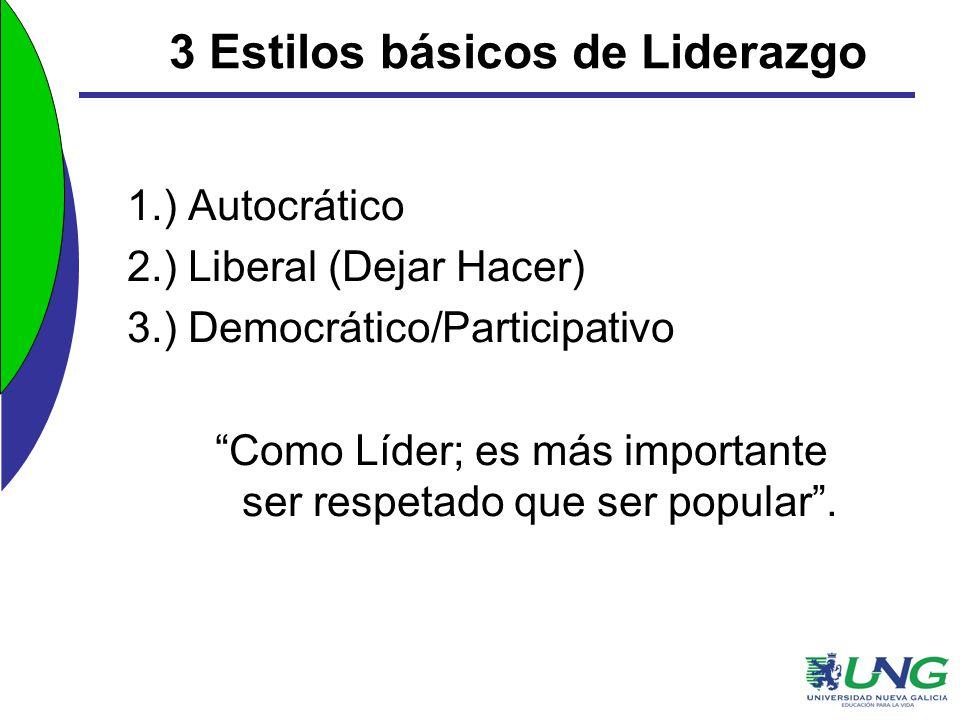 3 Estilos básicos de Liderazgo