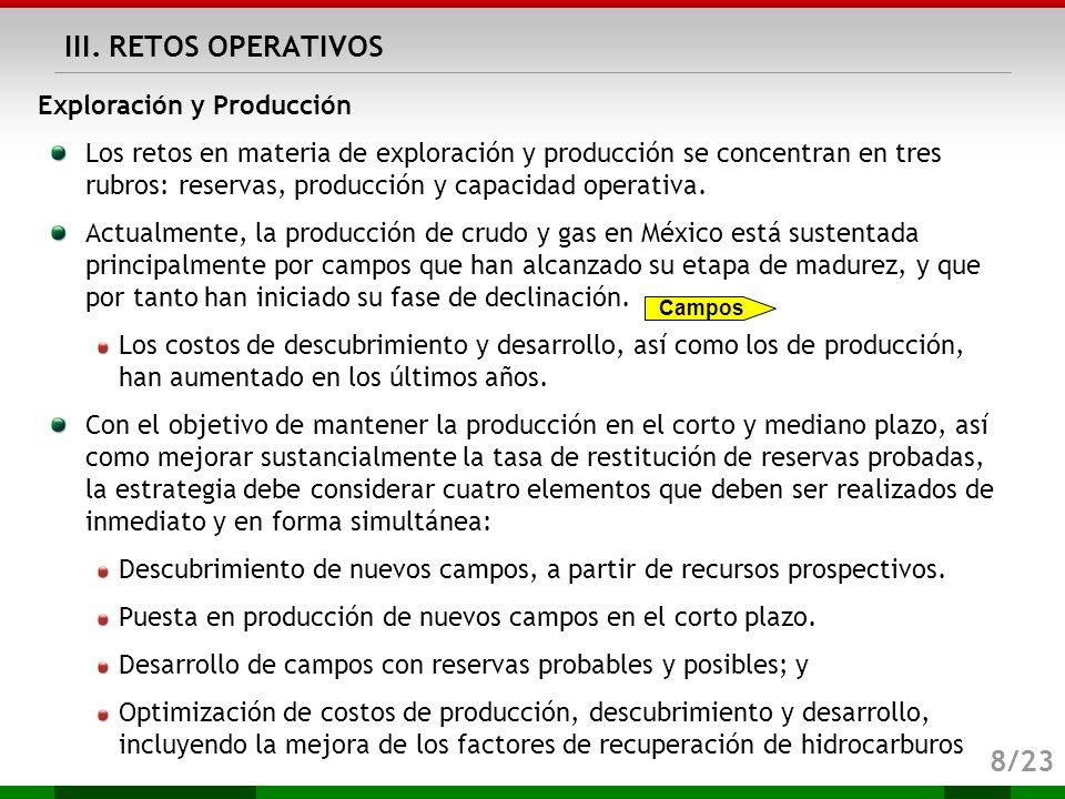 III. RETOS OPERATIVOS 8/23 Exploración y Producción