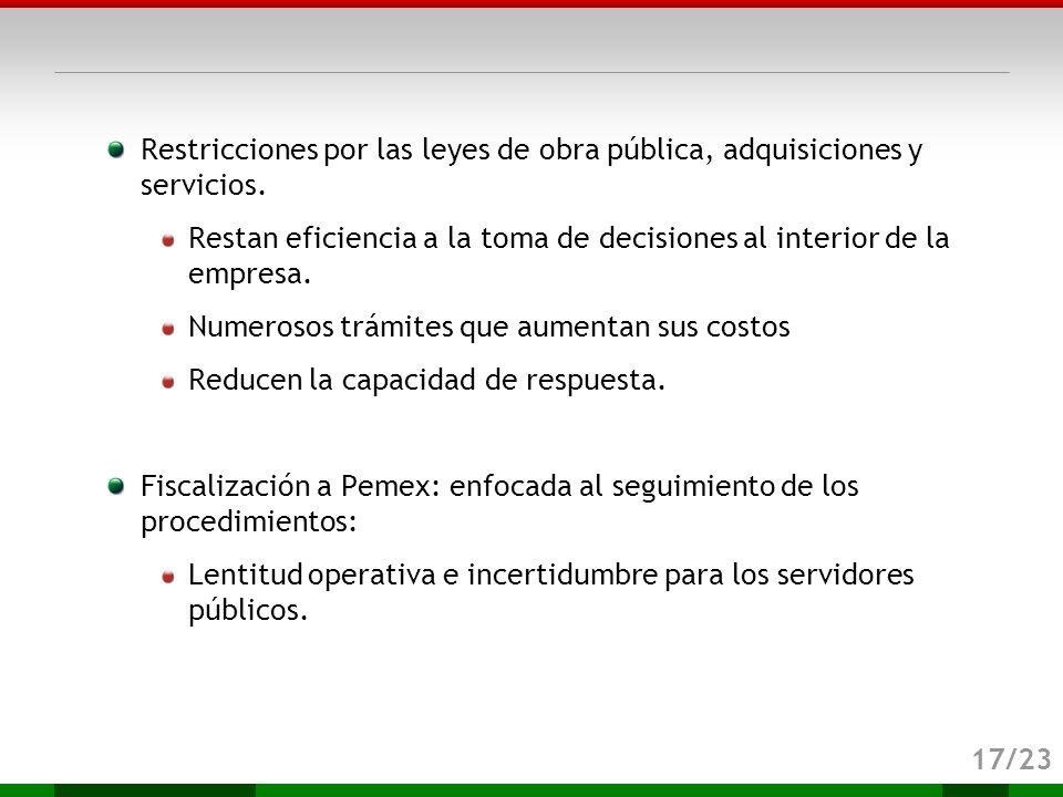 Restricciones por las leyes de obra pública, adquisiciones y servicios.