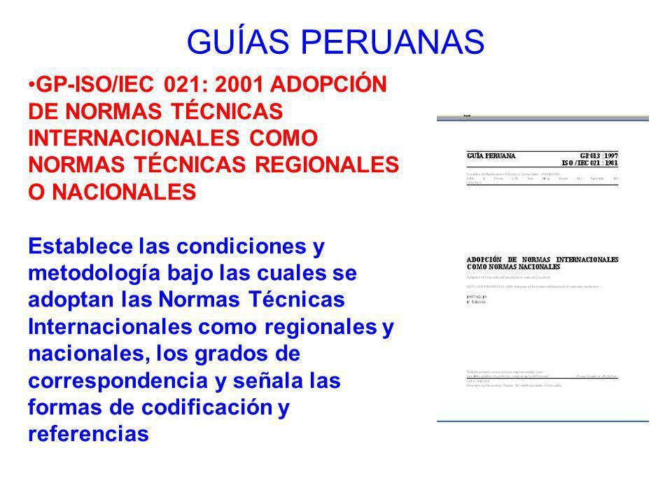 GUÍAS PERUANAS GP-ISO/IEC 021: 2001 ADOPCIÓN DE NORMAS TÉCNICAS INTERNACIONALES COMO NORMAS TÉCNICAS REGIONALES O NACIONALES.