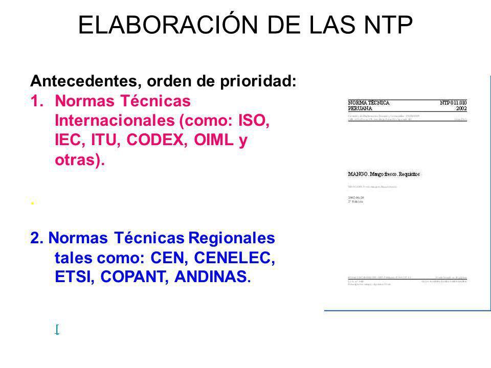 ELABORACIÓN DE LAS NTP Antecedentes, orden de prioridad: