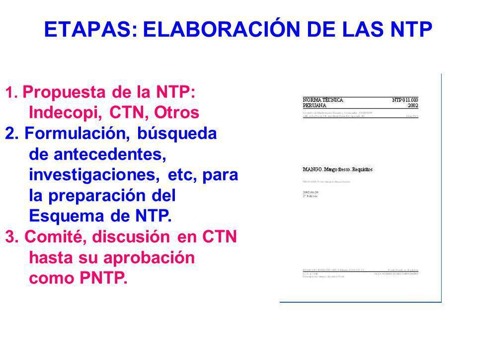 ETAPAS: ELABORACIÓN DE LAS NTP