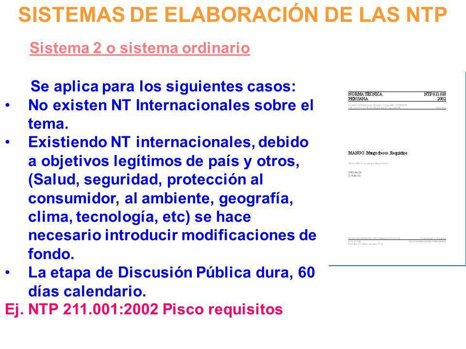 SISTEMAS DE ELABORACIÓN DE LAS NTP