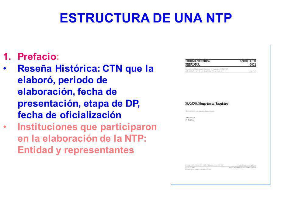 ESTRUCTURA DE UNA NTP Prefacio:
