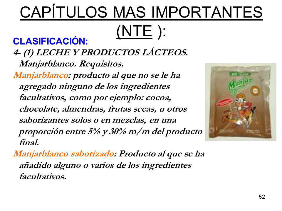 CAPÍTULOS MAS IMPORTANTES (NTE ):