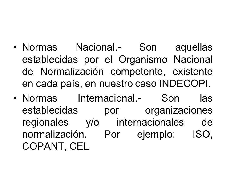 Normas Nacional.- Son aquellas establecidas por el Organismo Nacional de Normalización competente, existente en cada país, en nuestro caso INDECOPI.