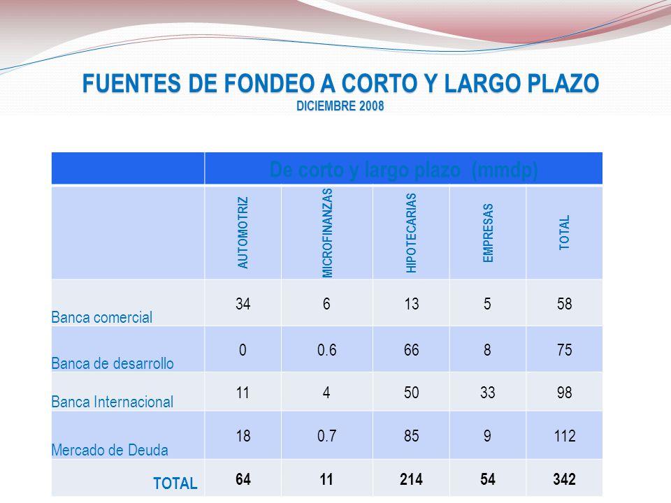 FUENTES DE FONDEO A CORTO Y LARGO PLAZO De corto y largo plazo (mmdp)