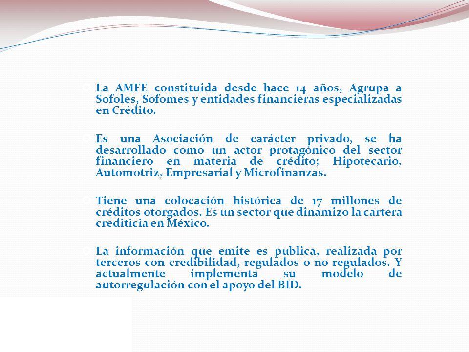 La AMFE constituida desde hace 14 años, Agrupa a Sofoles, Sofomes y entidades financieras especializadas en Crédito.