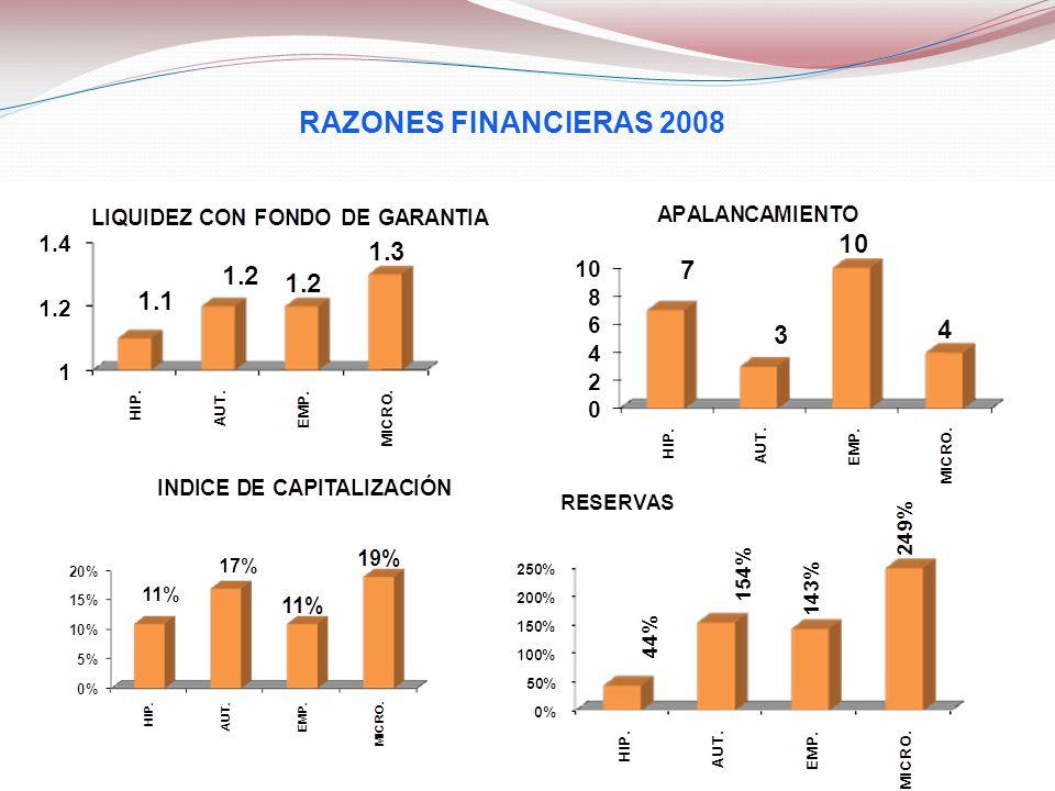 RAZONES FINANCIERAS 2008 9
