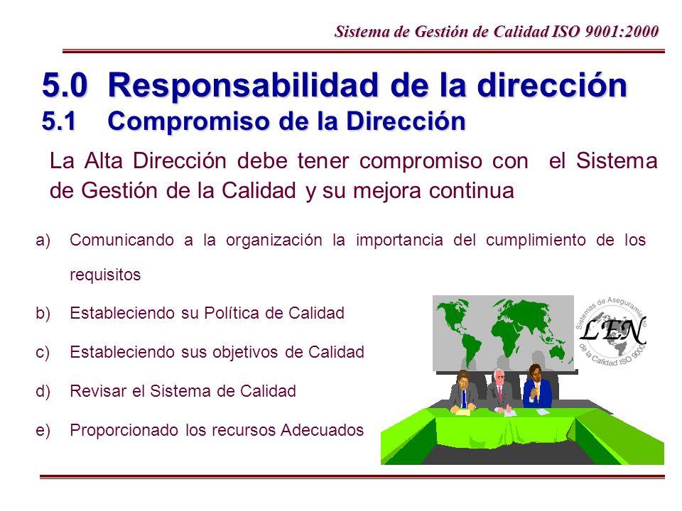 5.0 Responsabilidad de la dirección 5.1 Compromiso de la Dirección