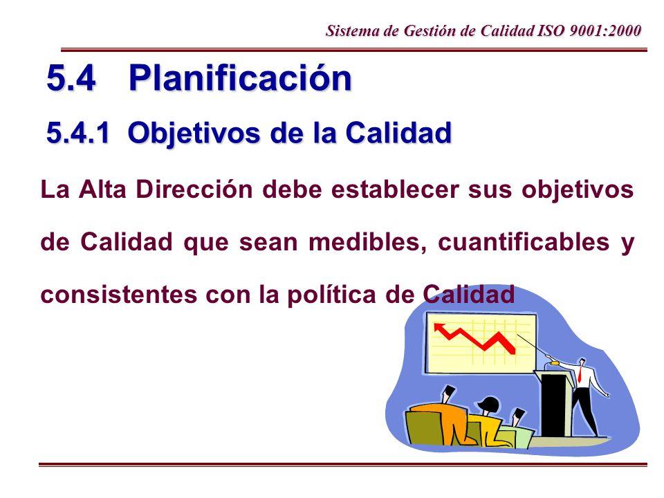 5.4 Planificación 5.4.1 Objetivos de la Calidad