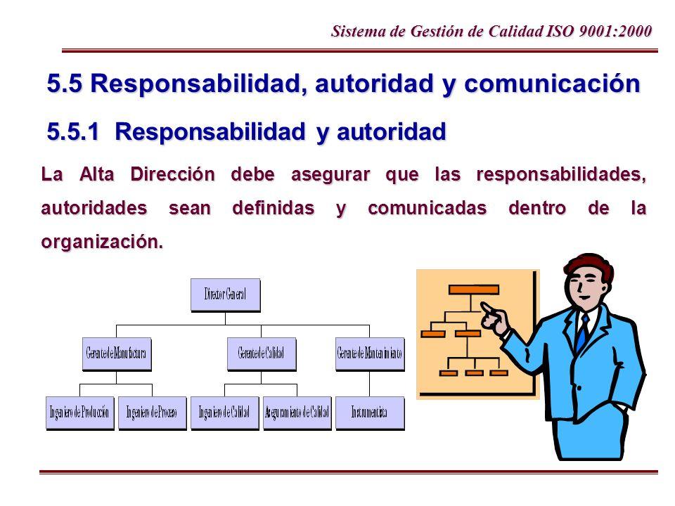 5. 5 Responsabilidad, autoridad y comunicación 5. 5