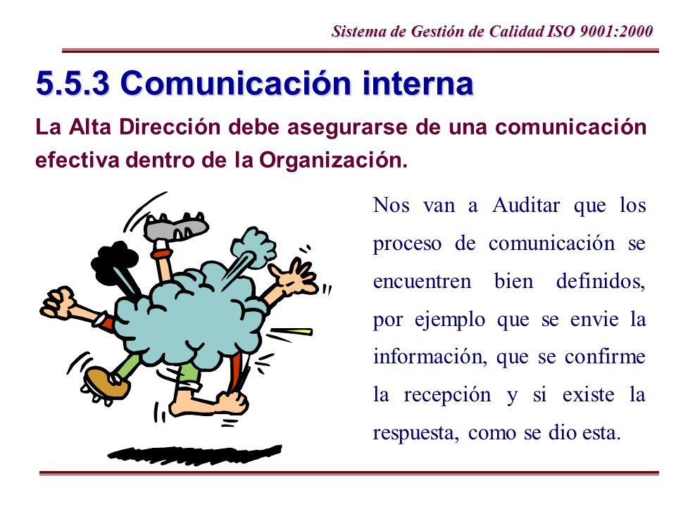 5.5.3 Comunicación interna La Alta Dirección debe asegurarse de una comunicación efectiva dentro de la Organización.