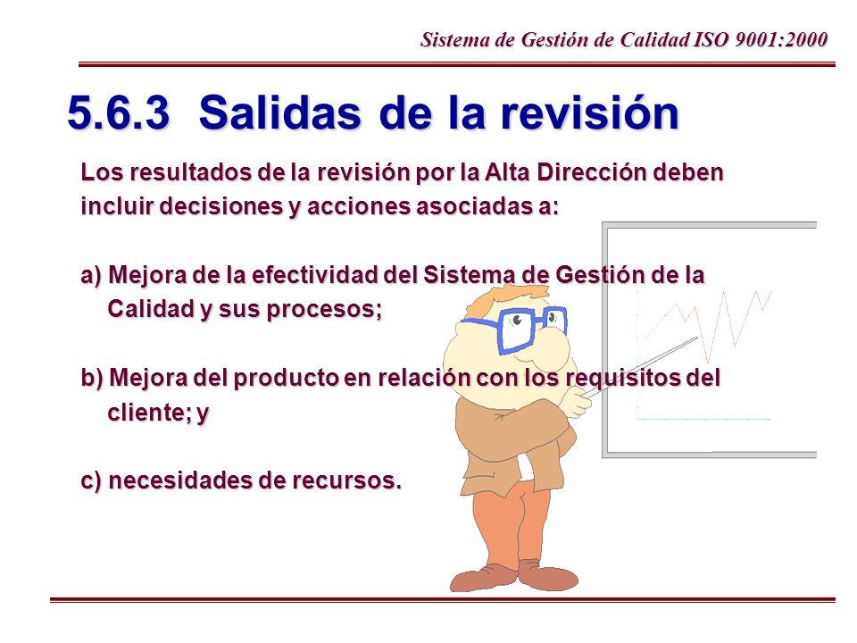 5.6.3 Salidas de la revisión Los resultados de la revisión por la Alta Dirección deben. incluir decisiones y acciones asociadas a: