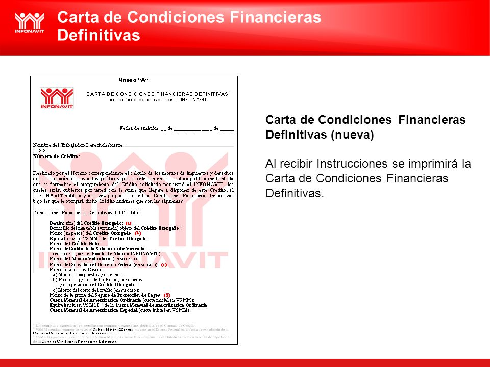 Carta de Condiciones Financieras Definitivas
