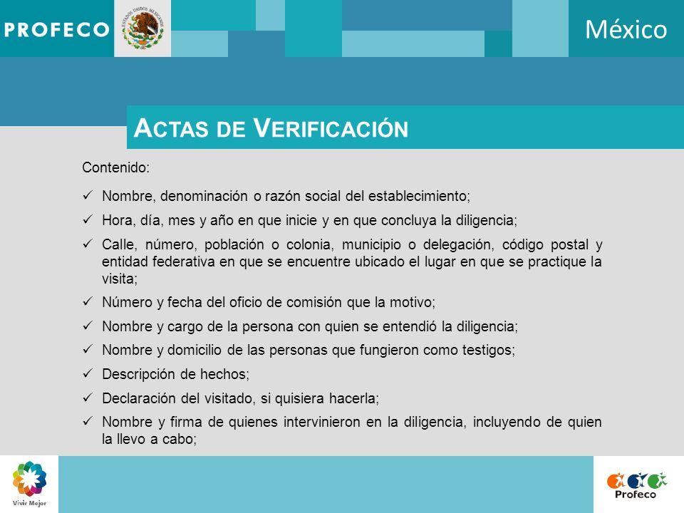 México Actas de Verificación Contenido: