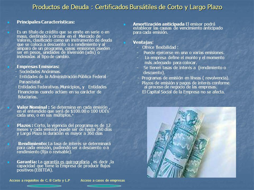 Productos de Deuda : Certificados Bursátiles de Corto y Largo Plazo