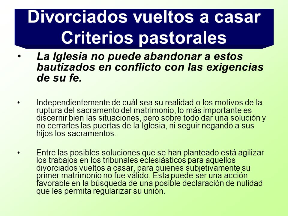 Divorciados vueltos a casar Criterios pastorales