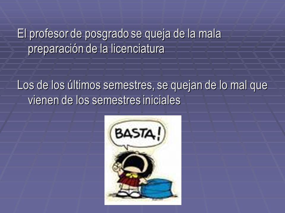 El profesor de posgrado se queja de la mala preparación de la licenciatura
