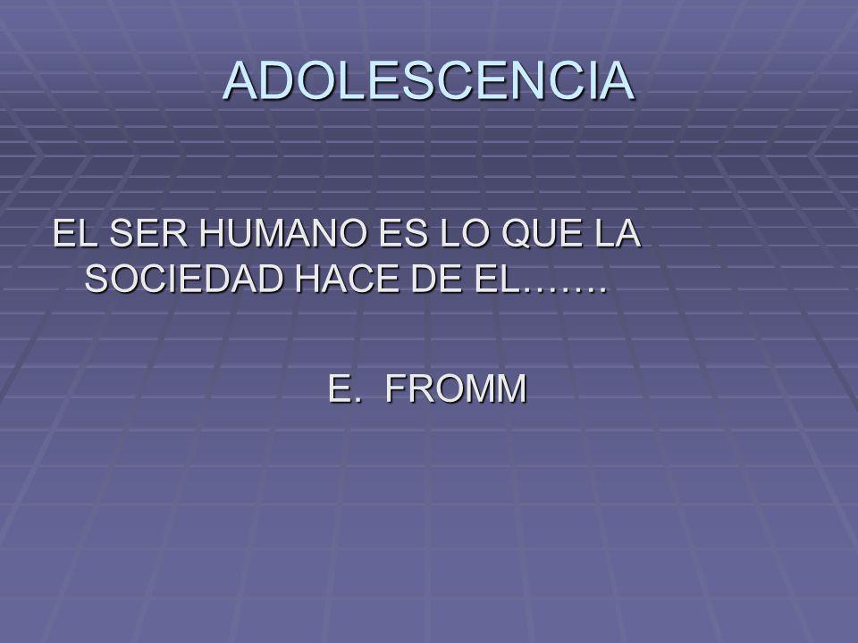 ADOLESCENCIA EL SER HUMANO ES LO QUE LA SOCIEDAD HACE DE EL…….