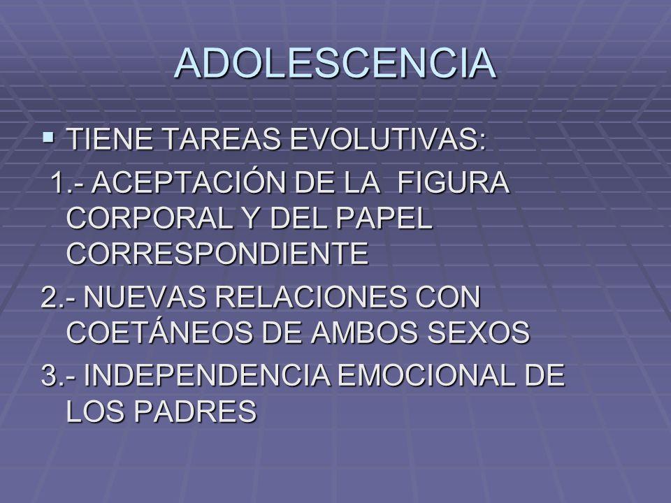ADOLESCENCIA TIENE TAREAS EVOLUTIVAS: