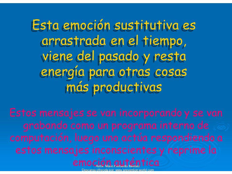 Esta emoción sustitutiva es arrastrada en el tiempo, viene del pasado y resta energía para otras cosas más productivas
