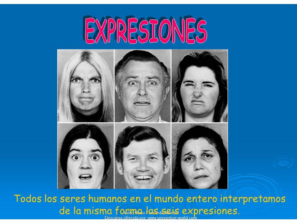 EXPRESIONES Todos los seres humanos en el mundo entero interpretamos de la misma forma las seis expresiones.