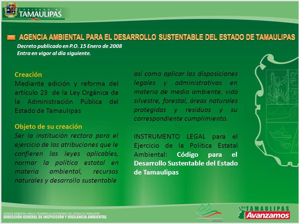 AGENCIA AMBIENTAL PARA EL DESARROLLO SUSTENTABLE DEL ESTADO DE TAMAULIPAS