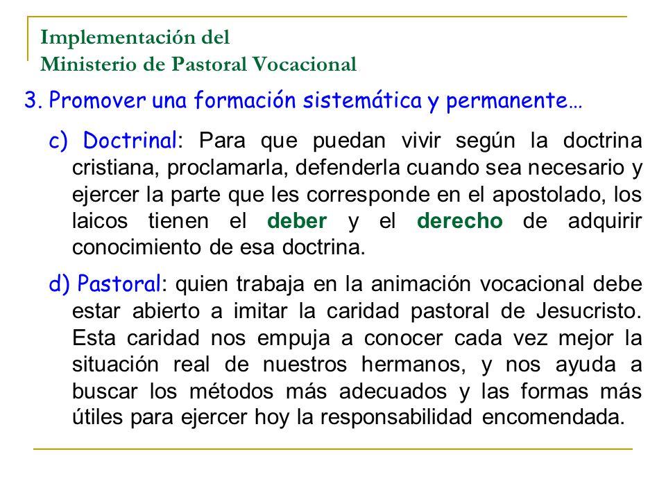 Implementación del Ministerio de Pastoral Vocacional
