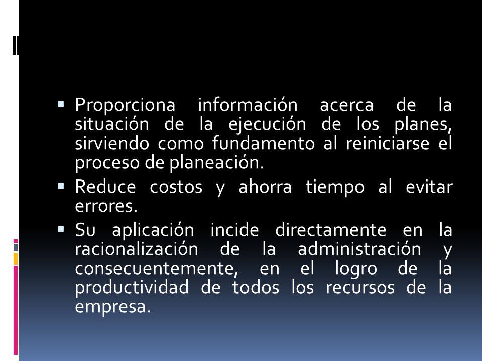 Proporciona información acerca de la situación de la ejecución de los planes, sirviendo como fundamento al reiniciarse el proceso de planeación.