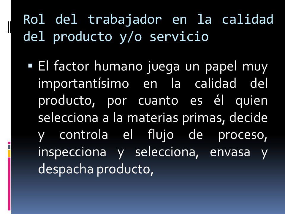 Rol del trabajador en la calidad del producto y/o servicio