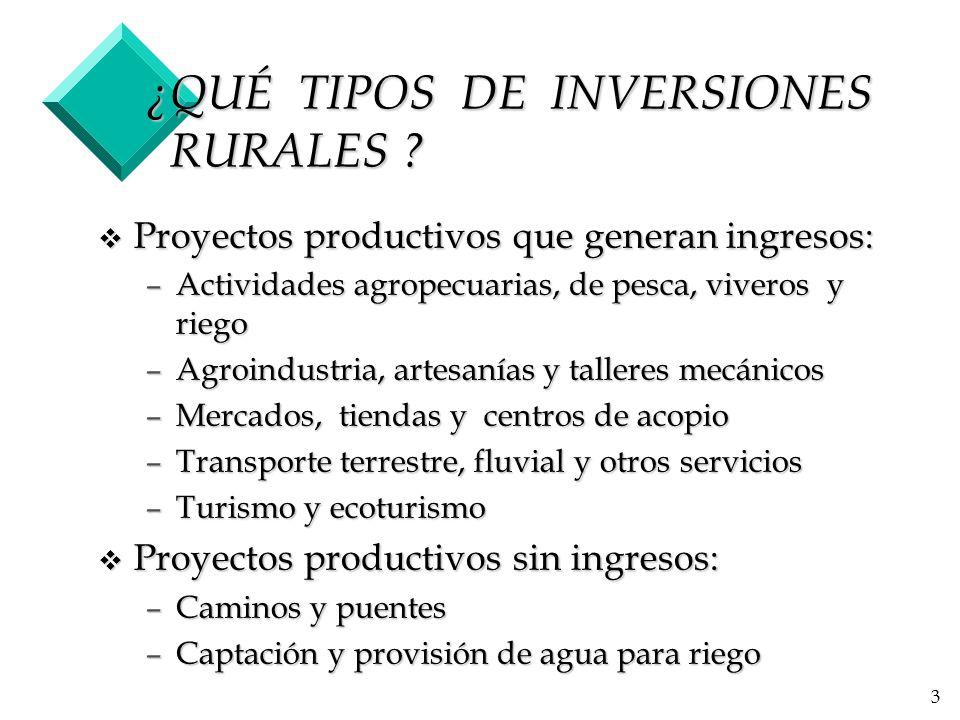 ¿QUÉ TIPOS DE INVERSIONES RURALES