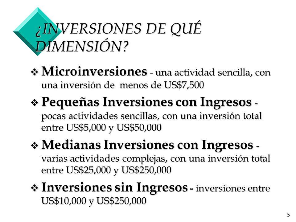 ¿INVERSIONES DE QUÉ DIMENSIÓN