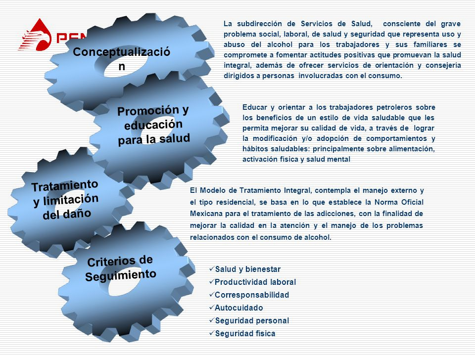 Tratamiento y limitación del daño Promoción y educación para la salud