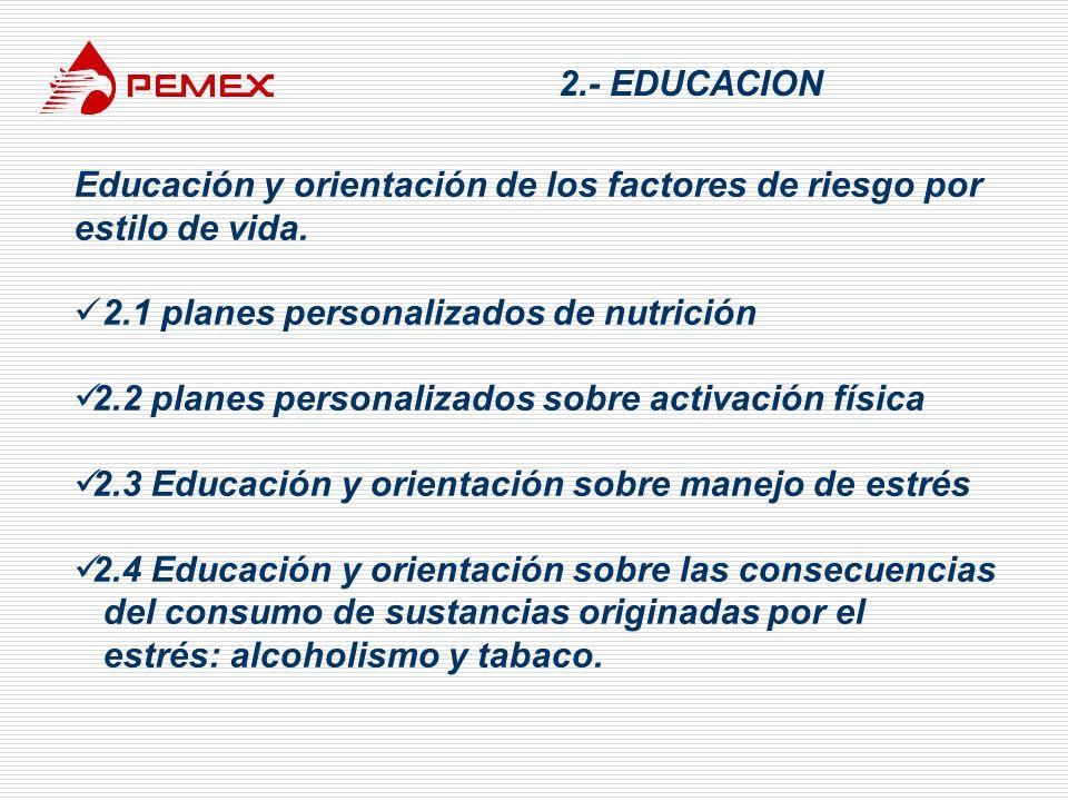 2.- EDUCACION Educación y orientación de los factores de riesgo por estilo de vida. 2.1 planes personalizados de nutrición.