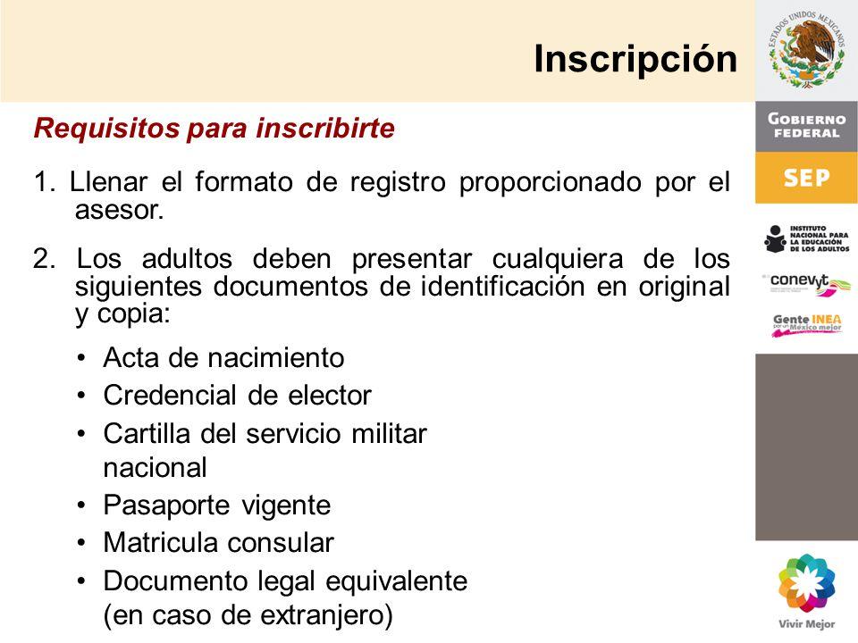 Inscripción Requisitos para inscribirte