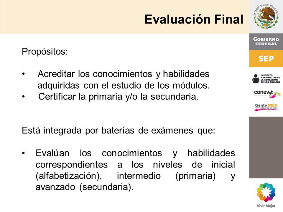 Evaluación Final Propósitos: Acreditar los conocimientos y habilidades