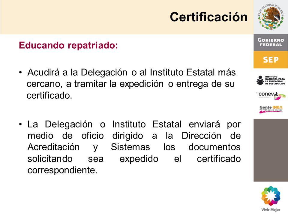 Certificación Educando repatriado: