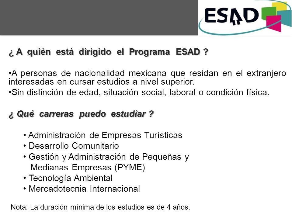 ¿ A quién está dirigido el Programa ESAD
