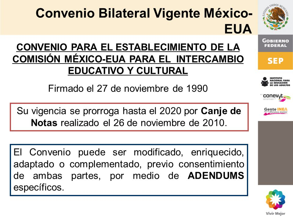 Convenio Bilateral Vigente México-EUA