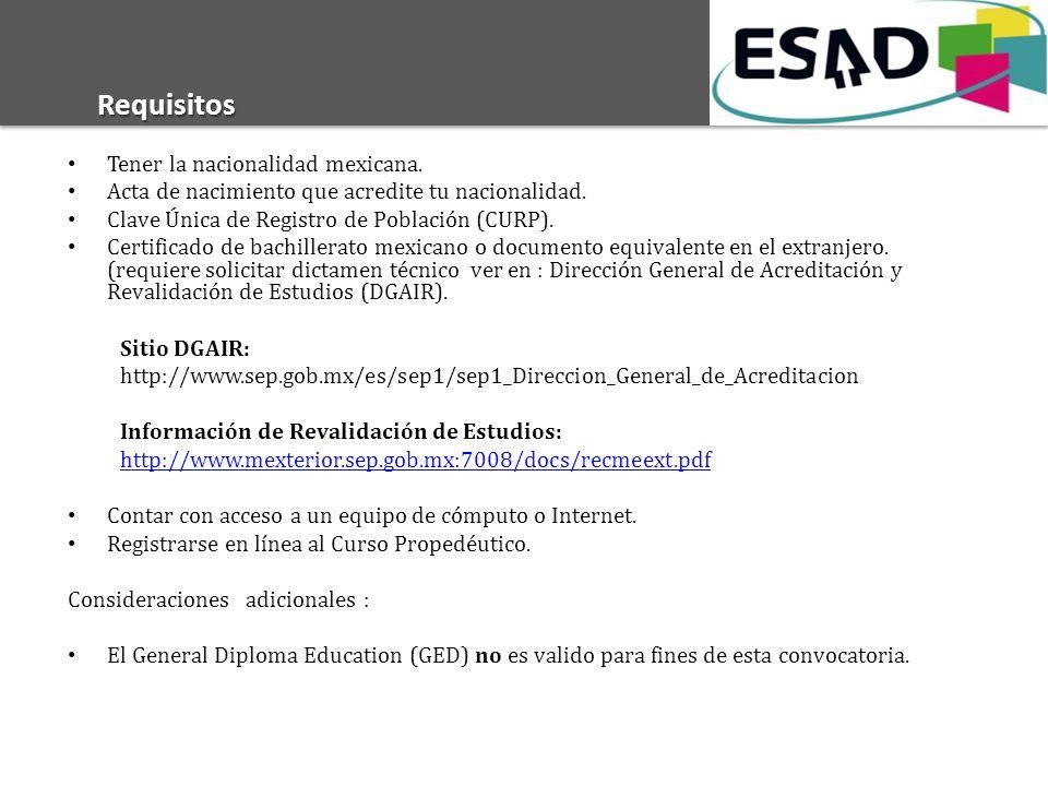 Requisitos Tener la nacionalidad mexicana.