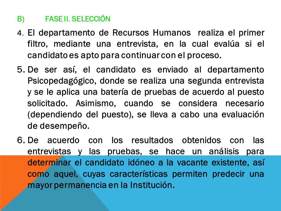 B) FASE II. SELECCIÓN