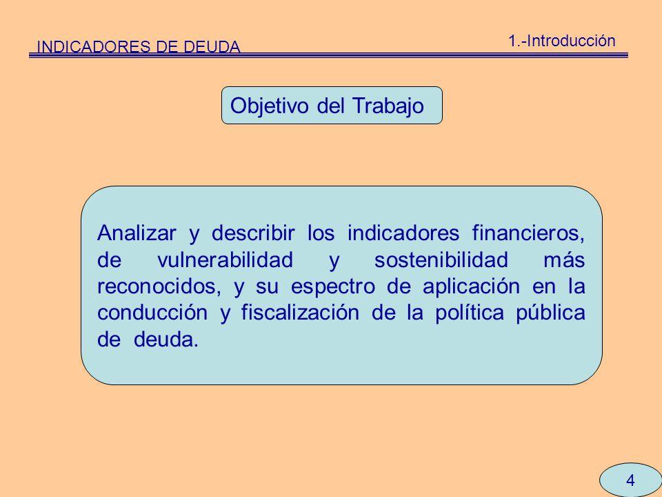 INDICADORES DE DEUDA 1.-Introducción. Objetivo del Trabajo.