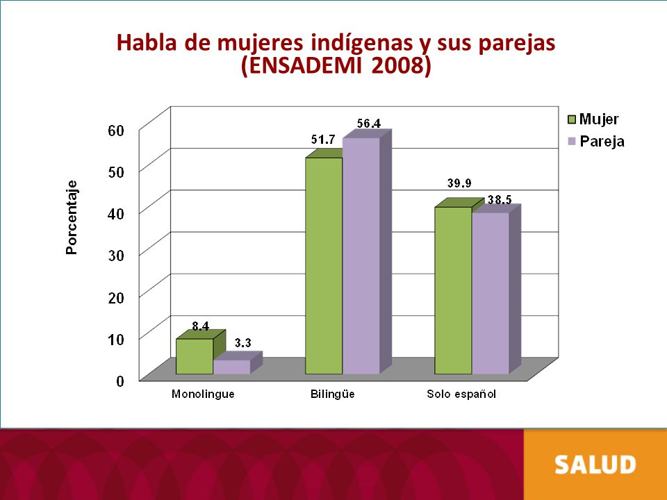 Habla de mujeres indígenas y sus parejas (ENSADEMI 2008)