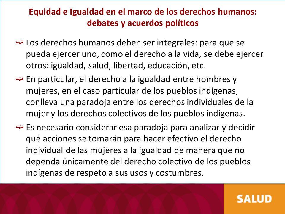 Equidad e Igualdad en el marco de los derechos humanos: debates y acuerdos políticos