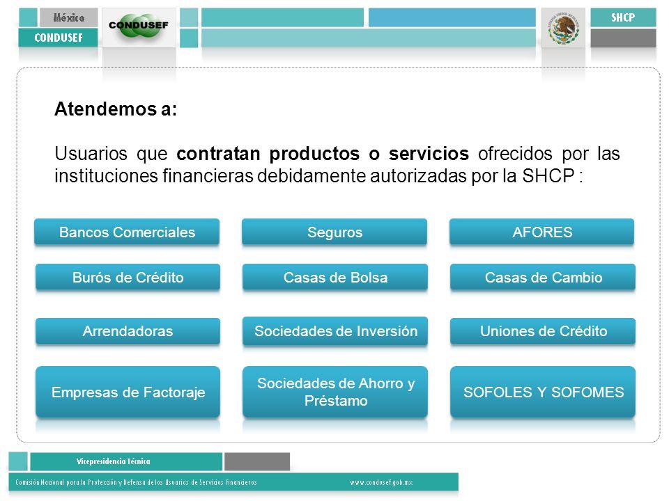 Atendemos a: Usuarios que contratan productos o servicios ofrecidos por las instituciones financieras debidamente autorizadas por la SHCP :
