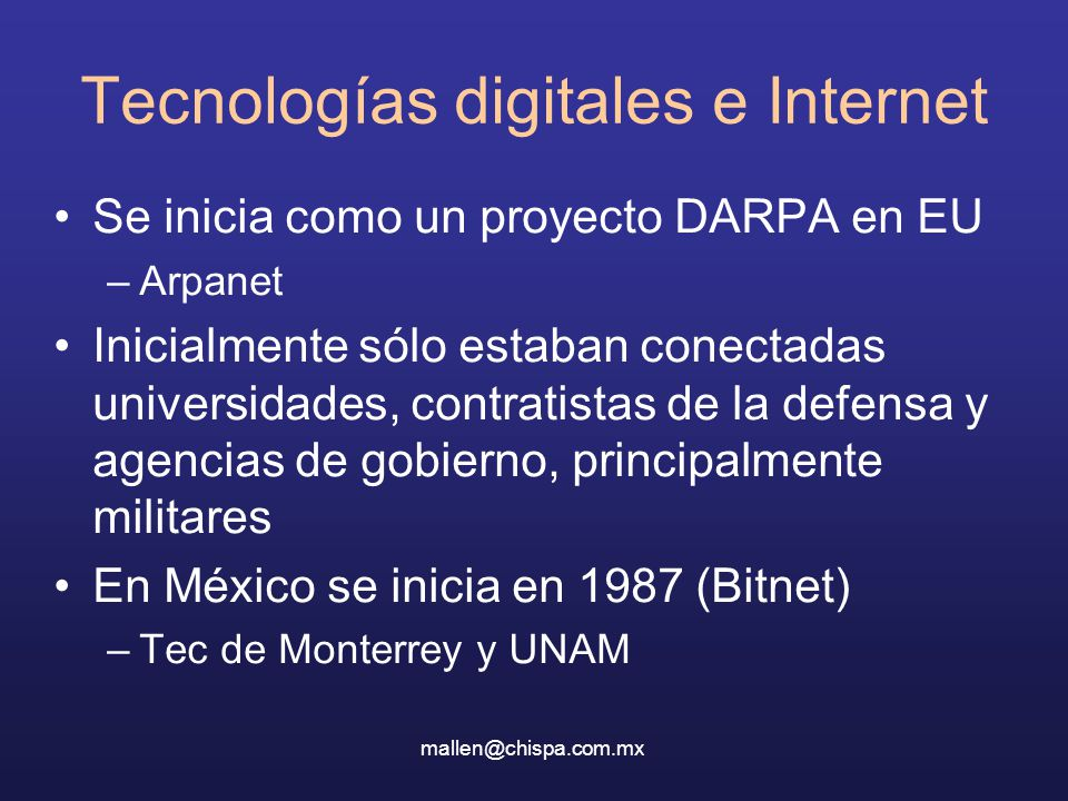 Tecnologías digitales e Internet